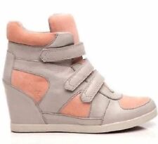 NEW KOOLABURRA $185 ASH GRAY LEATHER PRESTON II WEDGE SNEAKER SHOES SZ 6