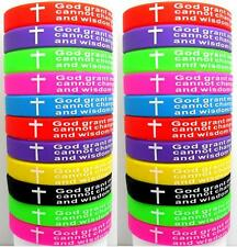 25x Color MIX Serenity Prayer Bibie Cross Silicone Bracelets Wristband Wholesale
