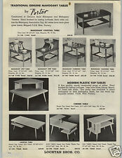1955 PAPER AD 2 PG Porter Mid Century Modern Mahogany Cocktail Tables Step End
