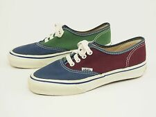 1980s VANS Vintage USA-made Blue/Green/Maroon Canvas Skate Shoes Womens 7.5