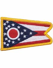 "Ohio 2"" x 3"" Flag (N-S-OH1) with Gold Border"