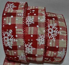 Wired Ribbon~Christmas Woven Red~White Snowflake~Tan Plaid~Holiday~Wreath~Bow
