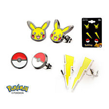 Officially Licensed Pokemon Stud Earring Set - Pikachu Lightning Poke Ball *NEW*