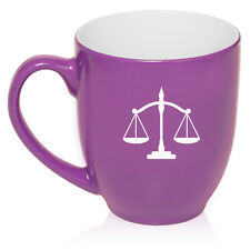 16oz Bistro Mug Ceramic Coffee Glass Tea Cup Scales of Justice Lawyer Paralegal