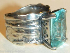 Silpada Aqua Glass Sterling Silver Sz 5 Stunning Artisan Cocktail Ring R1608
