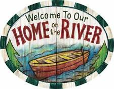 """Welcome to our Home on the River PVC Indoor Outdoor Sign 15"""" Cabin Boat"""