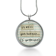 It Will Get Better Pendant Necklace, Quote Pendant, Inspiration, fashion jewelry