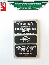 Tecalemit Oil Filter Plate - Lubricating Oil Filter (9420) ID PLAQUE