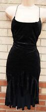 PRINCIPLES SEXY DIAMONTE STRAPPY FRILLY TRIM BLACK VELVET FIT TUBE PARTY DRESS M