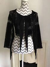 Topshop Black Suedette Cropped Kimono Fringed Jacket, Size XS 6 New