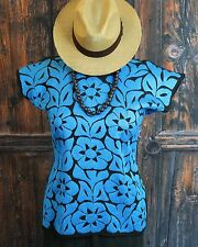 Hand Embroidered Blue & Black Huipil Blouse Jalapa Mexico Hippie Fiesta Peasant