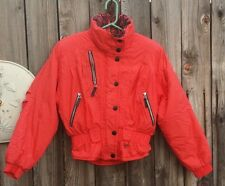 Awesome Bright RED 80s 90s Ski Coat Zippers Ladies 8 Obermeyer Snow Winter HOT