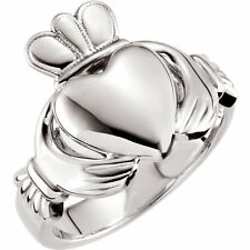 11 Gram Mens Heavy Claddagh Wedding Ring Band 14k White Solid Gold