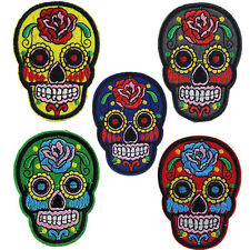 1Pc Skull Rose Flower Embroidered Iron On Patch Sew Clothes Bag Random 5.2*7.1cm