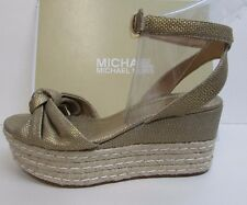 Michael Kors Size 7.5 Gold Wedge Heels New Womens Shoes