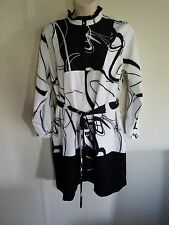 ELOQUII PLUS SIZE GEOMETRIC TIE BELT DRESS 16 BLACK & WHITE STRETCH