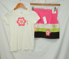 Gymboree Growing Flowers Size 12 Girls Top Skort 2 Pc Set Outfit Pink Green New