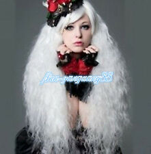 Fashion Long Rhapsody white curly wave party Heat Resistant Cosplay wigs+wig cap