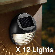 12X SOLAR POWERED 2 LED GUTTER FENCE LIGHT OUTDOOR GARDEN LAMP OUTSIDE BLACK