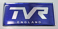 TVR England Gel Domed Blue & Chrome Effect Self Adhesive Badge 77x37mm