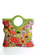 Isabella Fiore Multi-Color Cotton Floral Print Leather Trim Medium Tote Handbag