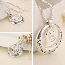 I Love U 2 The Moon And Back Silver Tone Necklace Valentine's Mother's Day Gift