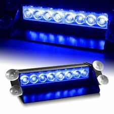 Blue & Blue, 8LED Car Dash Strobe Flashing Light Police Emergency Warning Lamp