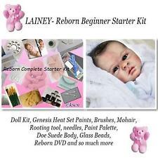 LAINEY Complete  REBORN Starter Beginner Kit, Genesis paints, Mohair, BODY, DVD