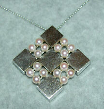 Vintage MIKIMOTO Pearl Signed Sterling Modernist Pendant Necklace 16 Pearls