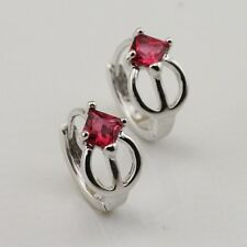 Simple Red Ruby  Fashion Jewelry Gift White Gold Filled Huggie Earrings er622