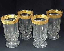 VTG 40's gilded gold Greek key rim coffee hot toddy liquor glass cups mugs