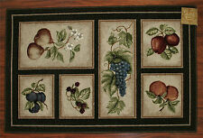20X34 Kitchen Rug Mat Chocolate Brown Washable Fruit Grapes Pears Apples Peach