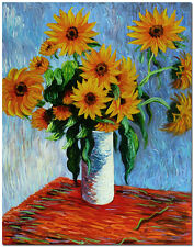 Vase of Sunflowers - Museum Quality Claude Monet FLower Oil Painting On Canvas