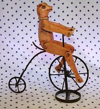 Vintage Wooden Pig Figurine Riding Penny Farthing Big Wheel Bicycle Bike