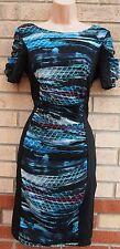 ABSTRACT CHIFFON GREEN BLUE ART PRINT BLACK SLIMMING PENCIL BODYCON DRESS 6 XS