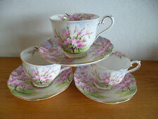 Royal Albert Blossom Time  Landscape  Pink Green  3 Footed Cup  & Saucer Sets