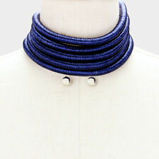 "12"" blue 5 layer metallic choker collar bib coil necklace earrings multi row"