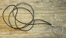 BLACK Leather cord .. ID Badge Holder Lanyard / Eyeglass Necklace
