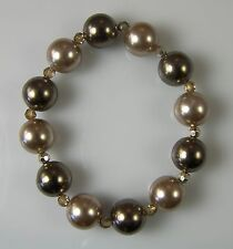 LONDON PEARL Faux Pearl STRETCH BRACELET Gold & Bronze 12 mm beads NEW