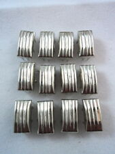 12 Silver Tone Grooved Lines Rectangle Studs Clothing Decoration Leather 1/2""