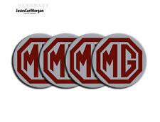 MG TF MGF Alloy Wheel Centre Caps Badges Burgundy Silver 55mm Hub Cap Badge Set