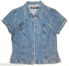 RARE VINTAGE 90's SKATER RAVE Womens JNCO JEANS zipper front jacket shirt sz L