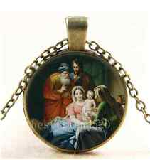 Vintage Mother Mary and Baby Jesus Cabochon Glass Bronze Pendant Necklace