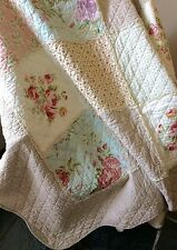 Shabby Chic French Throw Quilt Rug Blanket Large Pink Cream Brown +Pillow Sham