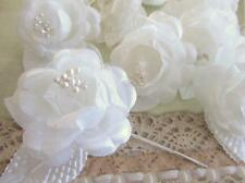 "12 Poly Silk/Mesh 2"" Rose Corsage Flower Bouquet/Wedding Floral Craft F67-White"