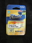 2 pack Brother M231 P-Touch Label Tape, Ptouch 1/2