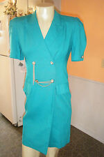 DANNY & NICOLE Turquoise Double Breasted Dress sz 10 Work Office Gold Chains