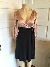Women's Rose/Gray Silk And Wool Wrap Dress By Diane Von Furstenburg Size 6