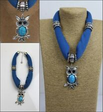 NEW ! fashion short Women's jewelry Scarf with Zinc Alloy OWL Pendants
