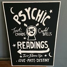 Wooden Vintage Fortune Teller Sign Psychic 12X8'' Sign Plaque Gift Retro Gypsy